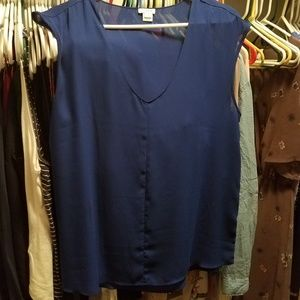 jcrew cap sleeve tank blue